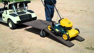 villager stow and tow golf cart utility trailer swivel wheel with ramps