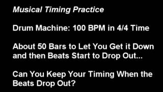 Timing Practice: 4 Bar Drum Machine Loop With Cut Beats (100 BPM in 4/4)