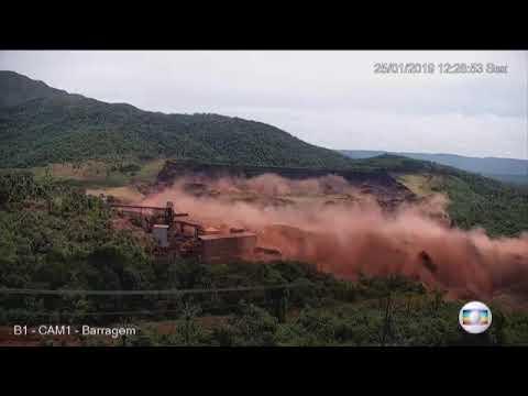 Vídeo mostra o momento exato em que barragem da Vale se rompe em Brumadinho  Minas Gerais