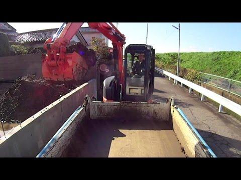 はたらくくるま 油圧ショベル 残土処理 Hydraulic excavator   Disposal of waste soil