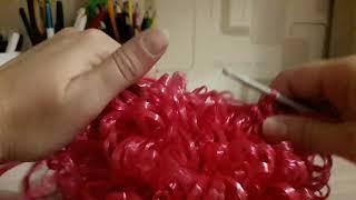 Вытянутые петли для мочалки крючком.