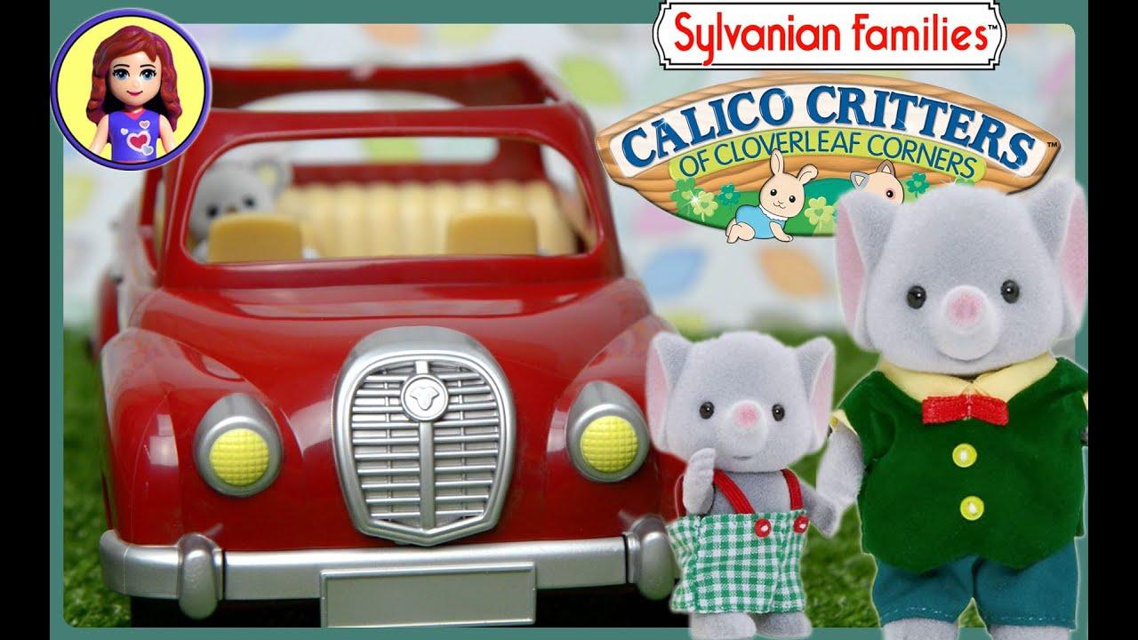 Sylvanian Families Calico Critters Red Saloon Car And Caravan Set
