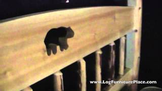 Cedar Lake Log Cutout Bed From Jhe's Log Furniture Place | Log Beds With Bear