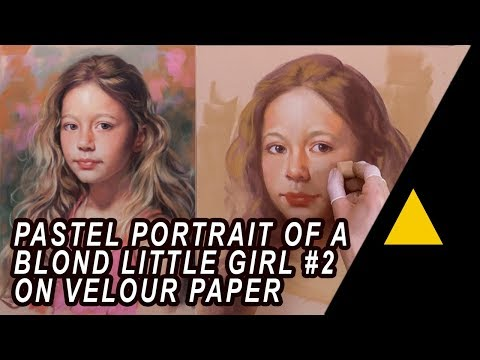 Pastel Portrait Of A Little Girl #2 On Velour Paper By Gerard Mineo