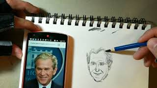 How to draw former President George W Bush pencil portrait drawing