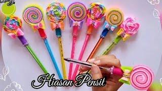 Cara mudah bikin Hiasan Pensil Lollipop    DIY    handcraft ideas