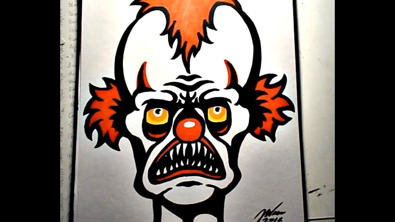 Scary Clown Drawing: How To Draw An EVIL CLOWN VI