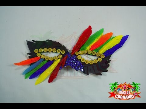 Manualidades carnaval antifaz carnavalero con plumas y for Manualidades con plumas