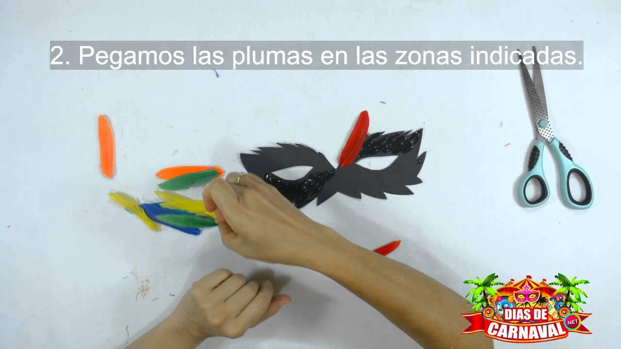 MANUALIDADES CARNAVAL  Antifaz carnavalero con plumas y cartulina