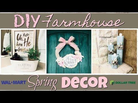 DIY Spring Farmhouse Home Decor! Dollar Tree + Walmart
