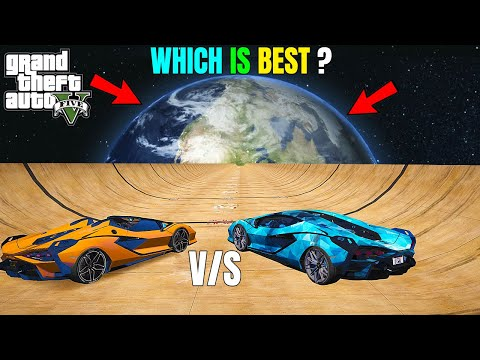 GTA 5 : TECHNO GAMERZ LAMBORGHINI SIAN Vs GOLD LAMBORGHINI SIAN ROADSTER | MEGA RAMP FROM SPACE |#98