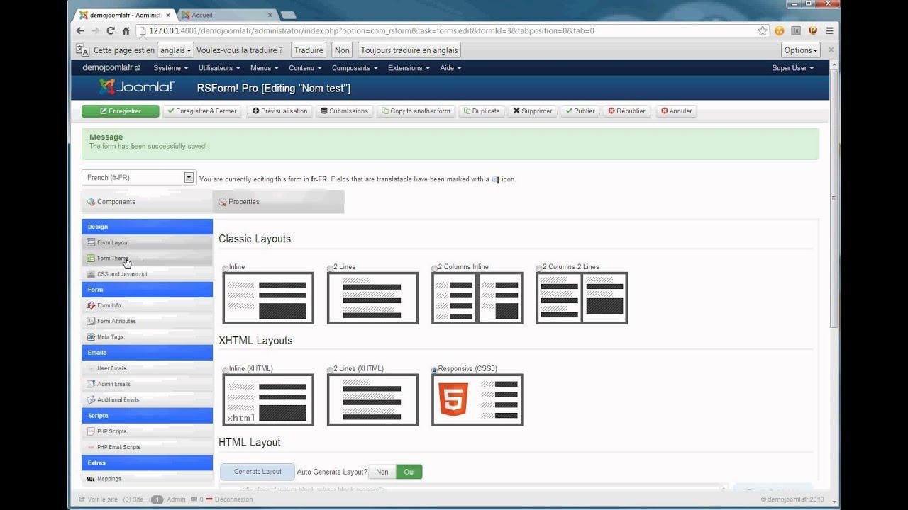 Joomla 3 rsform pro formulaire de contact youtube - Formulaire de contact ...