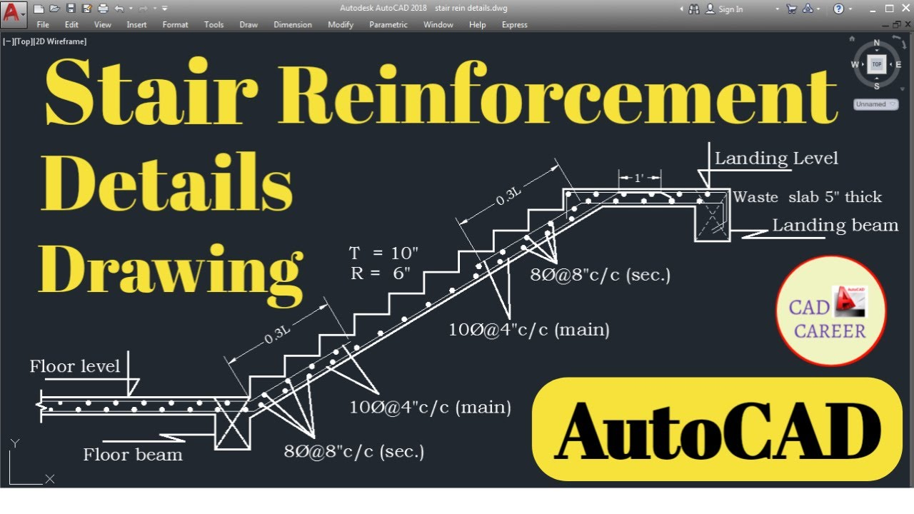 Reinforcement design in stairs || Staircase Reinforcement details drawing  || CAD CAREER