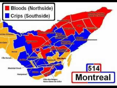 Montreal Realcity  MTL Bloods And Crips Street Gang Map YouTube - M13 gang us map