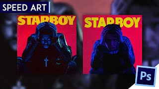 The Weeknd - Starboy Album Cover Speed Art   Photoshop CC 2015