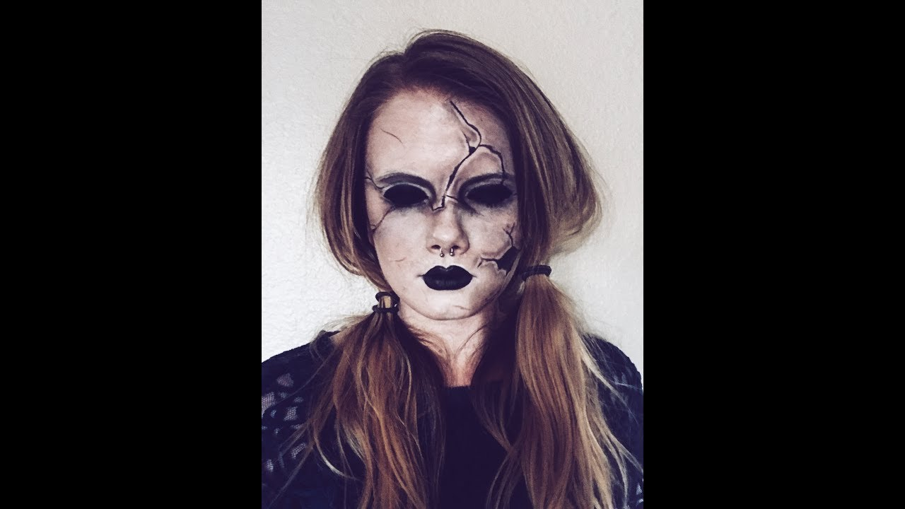 scary cracked doll halloween makeup