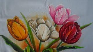 Pintando tulipas coloridas