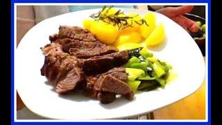 Рецепт стейка с картофелем и луком пореем // Как приготовить стейк средней прожарки