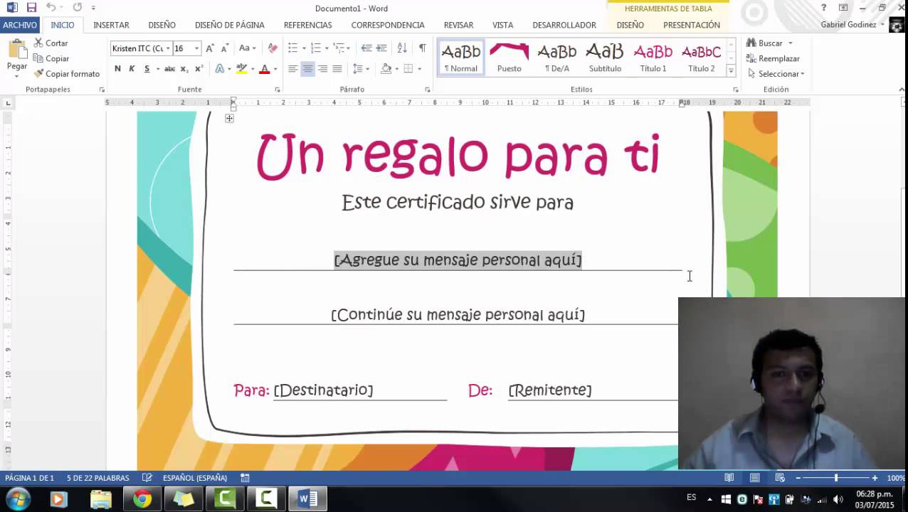 Plantilla Certificado de Regalo en Microsoft Word 2013 - YouTube