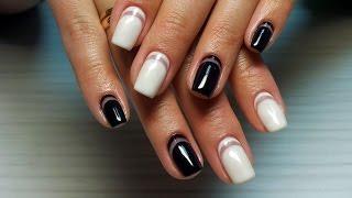 Дизайн ногтей гель-лак Shellac - Обратный френч, французский маникюр (уроки дизайна ногтей)