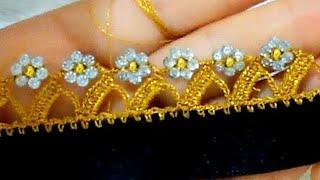 crochetpuntillaskinittinghandmade244.SİMLİ GOLD İPLE İNCİLİ HÜRREM BONCUKLU TIĞ OYASI