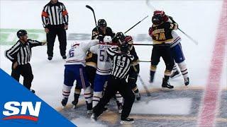 Shea Weber Shoves David Pastrnak To Kick Off Canadiens vs. Bruins Line Brawl