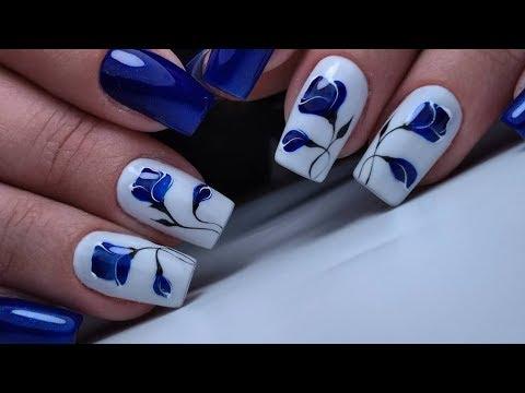 Красивый и простой дизайн ногтей синий цветок. ТОП удивителные дизайны ногтей