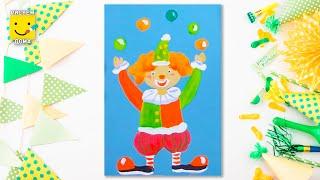 Как нарисовать клоуна - урок рисования для детей от 5 лет, гуашь,  рисуем дома поэтапно