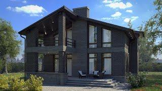 Проект дома в современном стиле из кирпича. Дом с террасой и балконом. Ремстройсервис KR-173