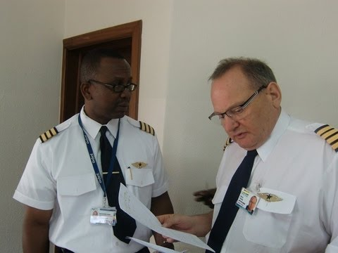 Pre flight briefing for Africa World Airlines flight to Kumasi (HD)