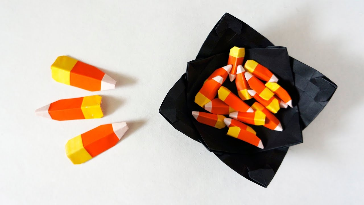 Paper candy corn for halloween caramelos de halloween youtube jeuxipadfo Gallery
