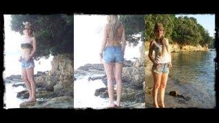high waisted denim shorts fringe bikini beach ootd