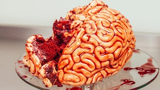 How To Make A WALKING DEAD BRAIN... cake! Red velvet cake, fondant and raspberry jam!