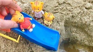 DANIEL TIGER Toys Slide Beach Sand Pool Video!