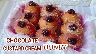 Chocolate Custard Cream Donut Without Yeast l How to Make Chocolate Custard Cream Donut