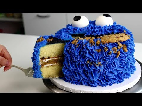 COOKIE Monster CAKE made with COOKIES!! 🍪