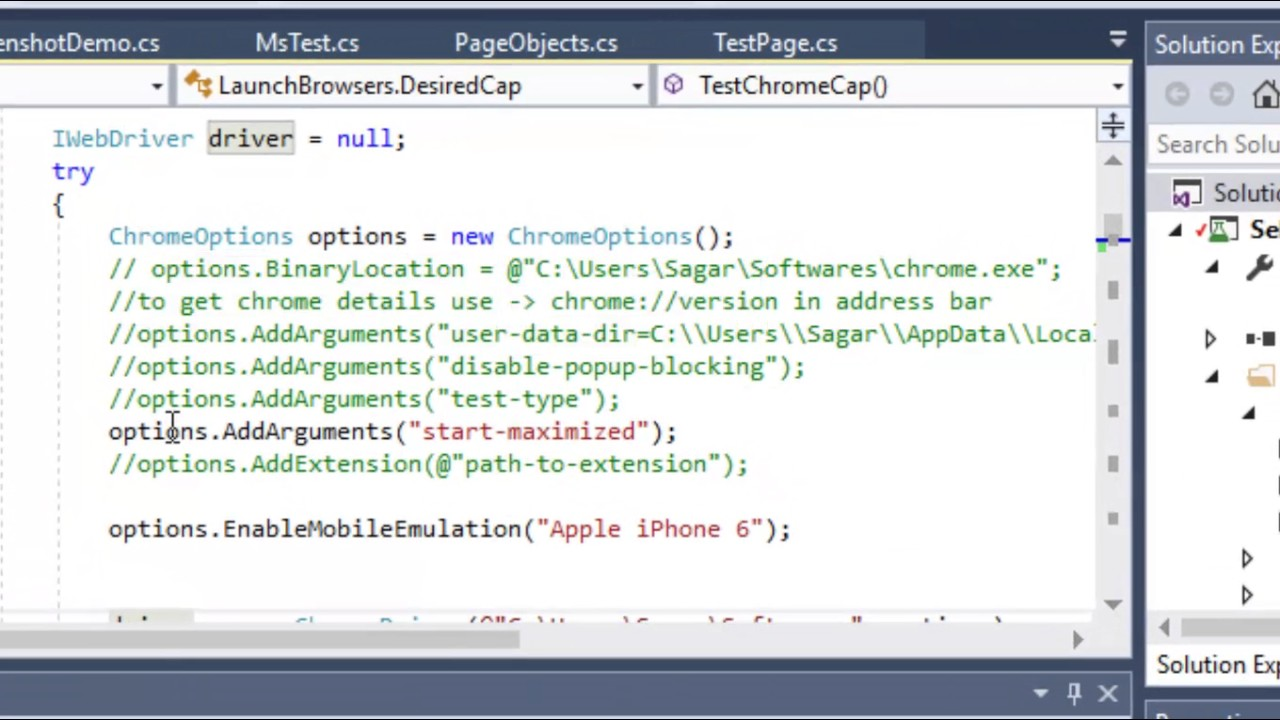 Lecture 25 - Mobile emulation using Selenium and chrome in C# Net
