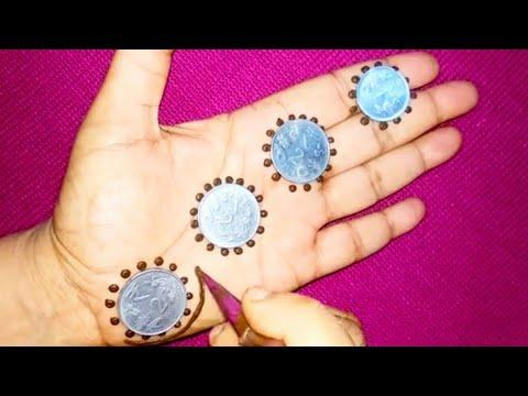 Coins की मदद से मेहँदी डिजाइन लगाये | New Easy Mehndi Design Trick With Coin | Gol Tikky Dots Mehndi