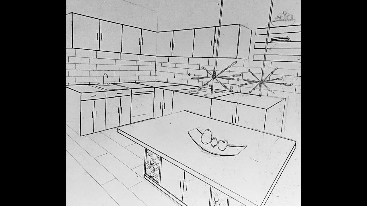Two Point Perspective Kitchen Drawing Youtube