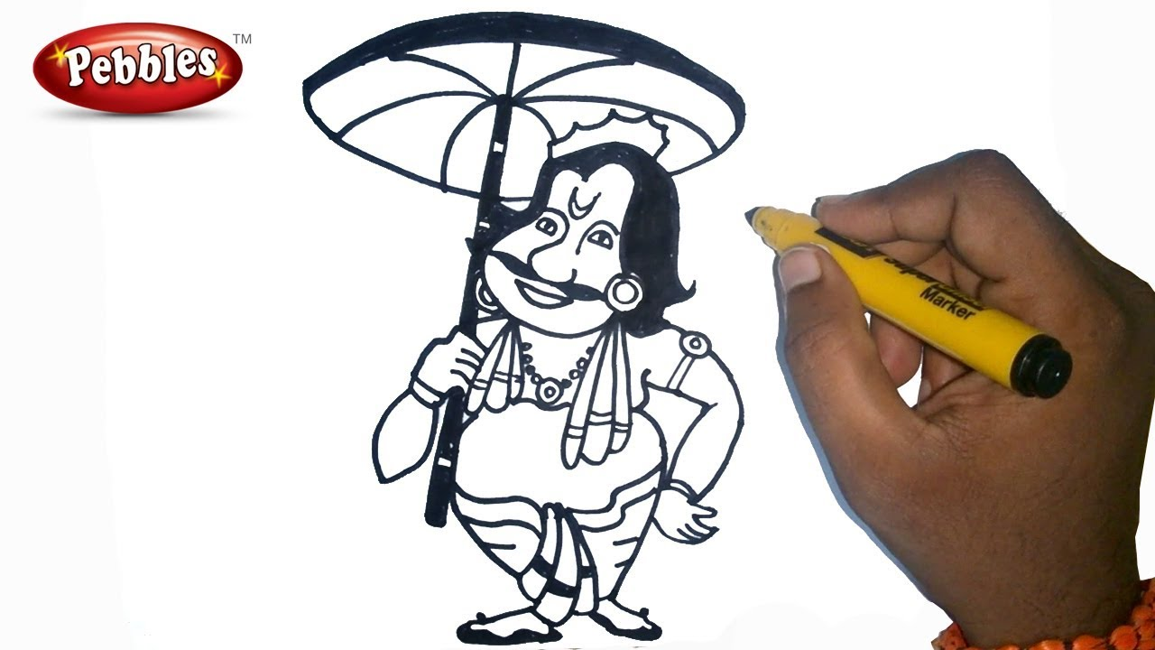 how to draw happy onam drawing for kids step by step for kids onam drawing for kids