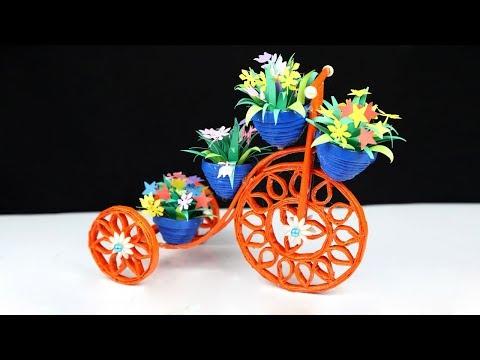 Newspaper Cycle flower vase Stand | Newspaper Craft Idea | Handmade Cycle Craft