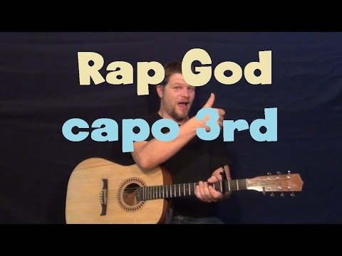 Rap God (EMINEM) Easy Strum Guitar Lesson How to Play Tutorial with Chords Licks Capo 3rd