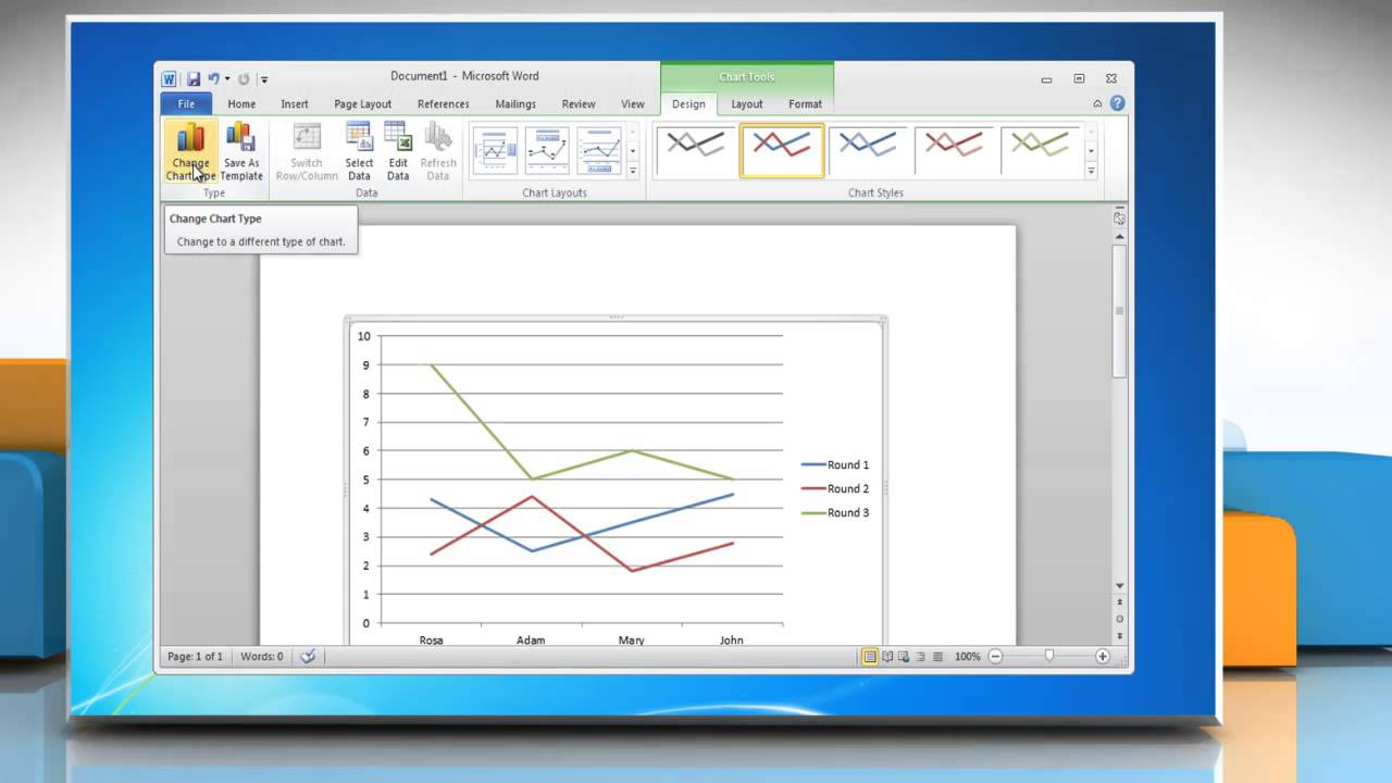 How to make a line graph in Microsoft Word 2010 - YouTube