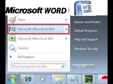 HOW TO OPEN Ms word in windows 7 short video tutorial Part 1 |Online Trainer