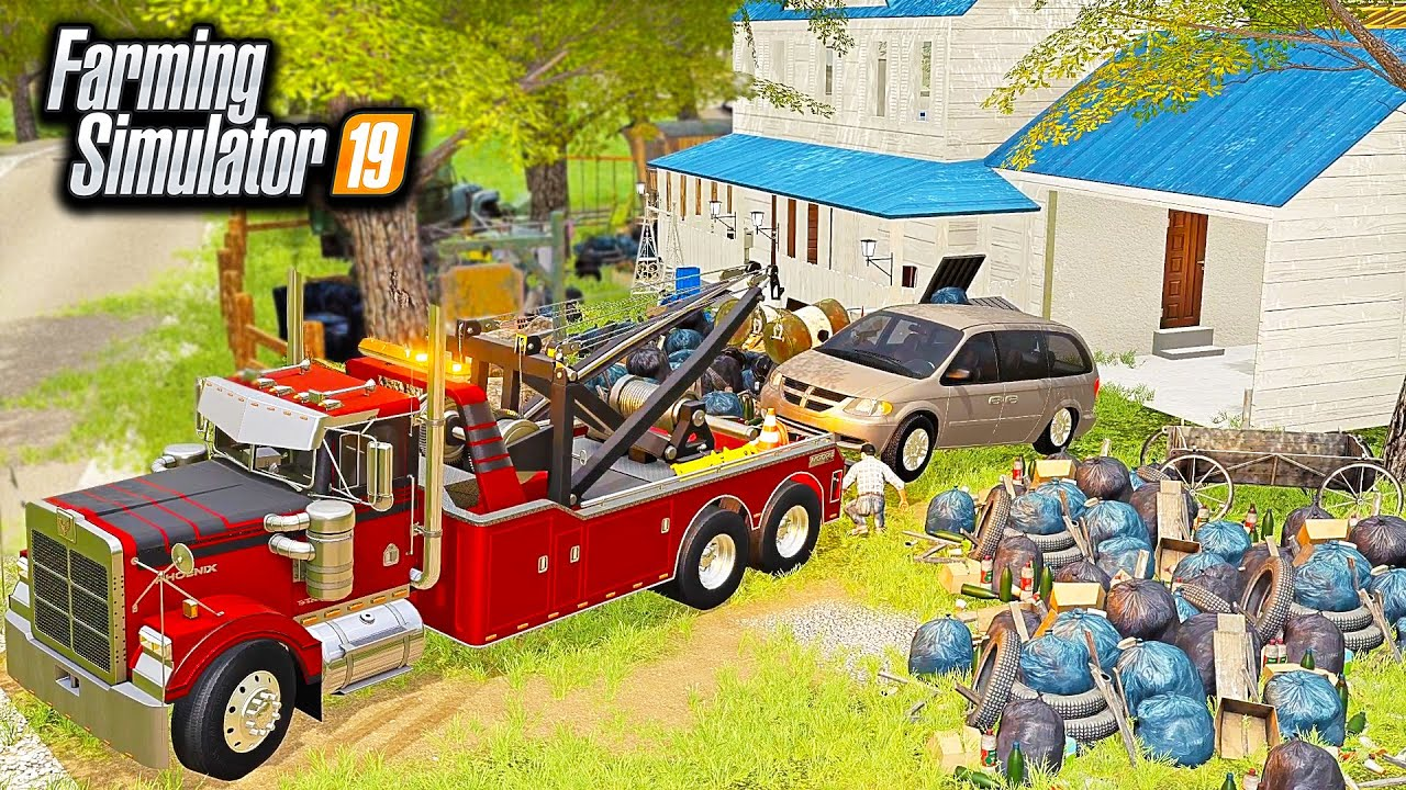 MINI-VAN REPO FROM HOARDER HOUSE! (OWNER CHASES US DOWN!) | FARMING SIMULATOR 2019