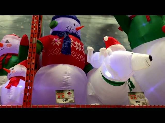 Two Very Happy Home Depot Christmas Blow Up Decorations
