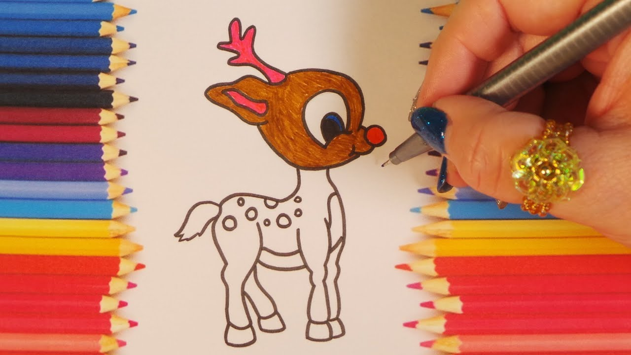cute baby reindeer coloring santa clauss cool reindeer for christmas colouring fun