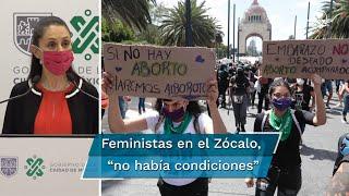 Claudia Sheinbaum, jefa de gobierno de la Ciudad de México, detalló que se contuvo la marcha feminista para evitar confrontaciones con el plantón de FRENAAA