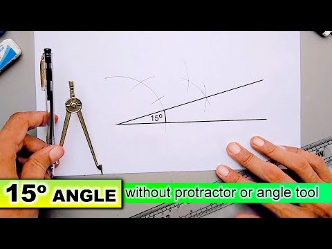 Draw 15 degree angle without protractor or angle tool with compass