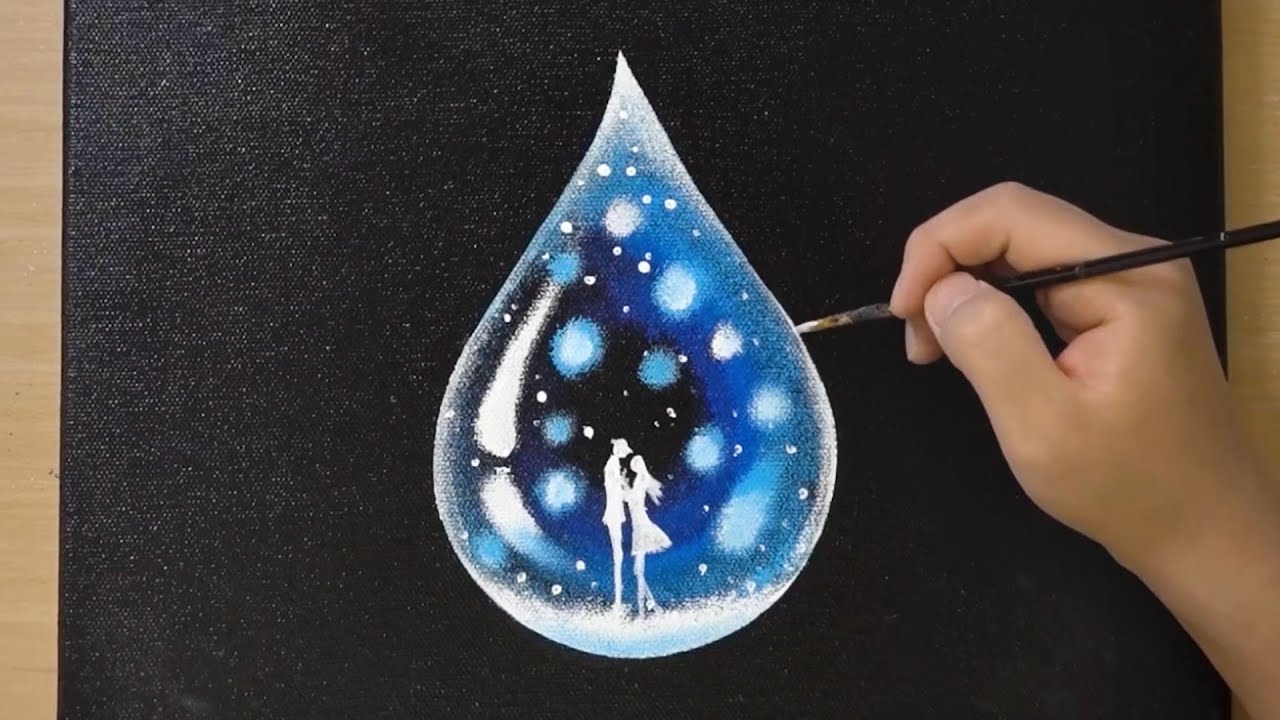 Water Drop Painting / Acrylic Painting / OHP Sheet Painting Technique for Beginners